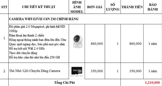 Bảng giá lắp đặt camera wifi Ezviz C6N tại Quận 12