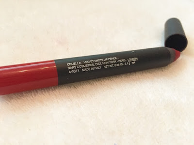 best red lipstick Nars Cruella lip pencil