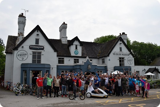 Riders outside Ye Olde Manor
