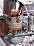 A view of the drill sharpener and forge.