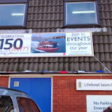 150th anniversary adorns the front of the lifeboat station. 19 January 2015.