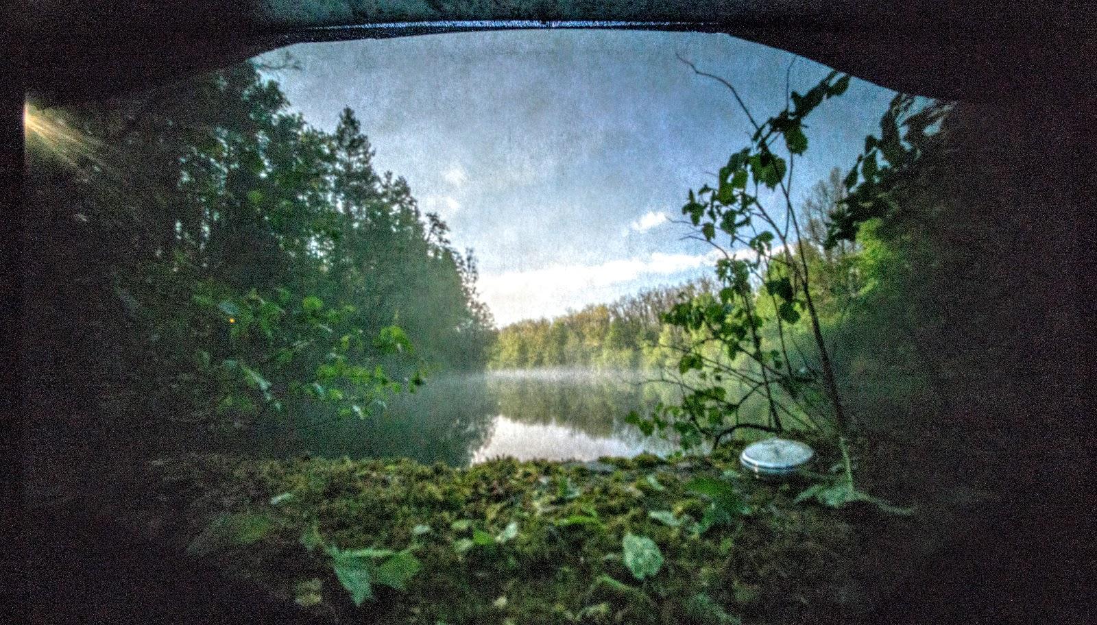 пінхол, пейзаж, ставок, озеро, ліс, годинник