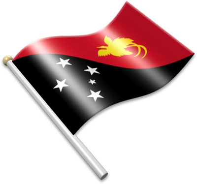 The Papua New Guinean flag on a flagpole clipart image