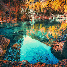 Lake Blausee by Matthew Clausen - Landscapes Waterscapes ( blue, fall, leaves, switzerland, clear, lake, water, blausee )