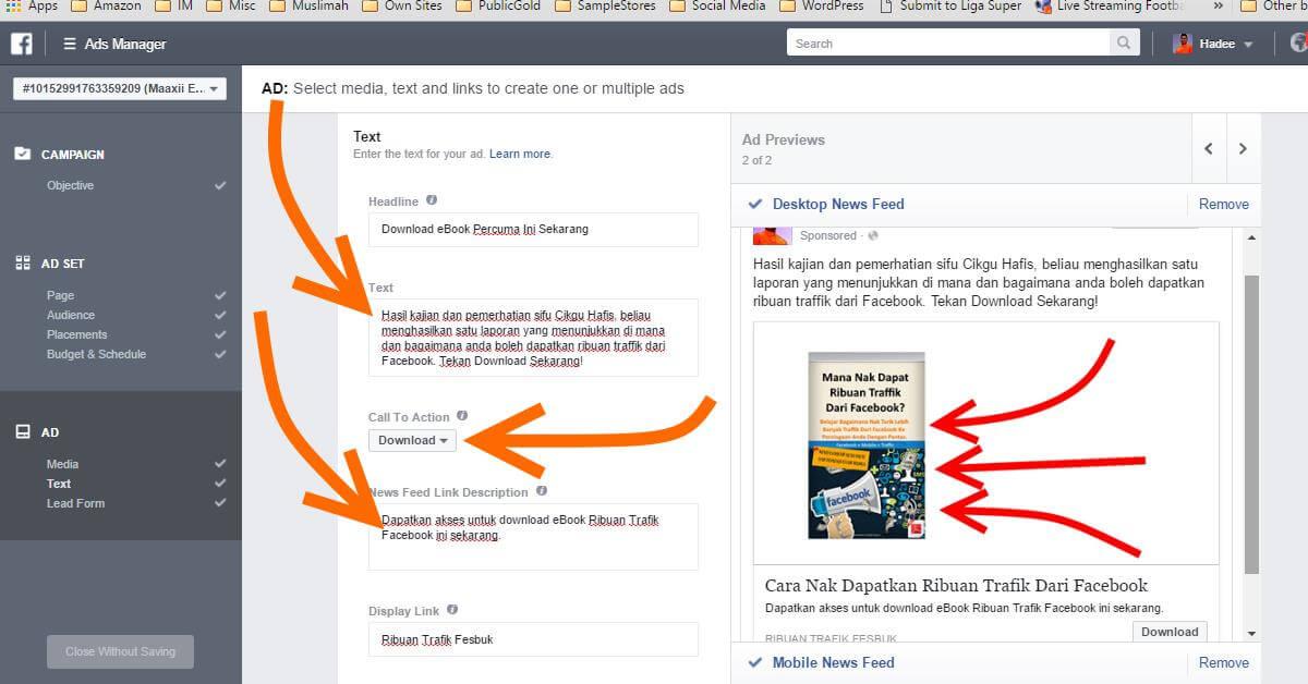 Facebook Ads Ad Text Desktop