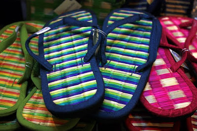Flip flops for sale at the night market in Siem Reap Cambodia