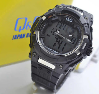 jam tangan Q&Q GW80J003Y full black rubber