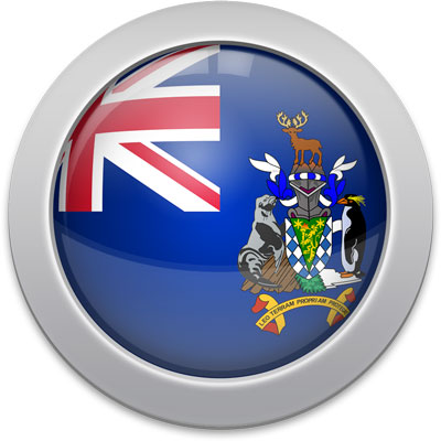 South Georgia or  South Sandwich Islands flag icon with a silver frame