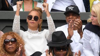 Beyonce and Jay Z cheering serena williams