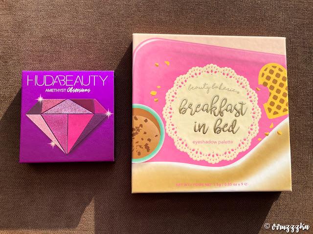Beauty Bakerie Breakfast in Bed Eyeshadow Palette Huda Beauty Obsessions Eyeshadow Palette Amethyst Review