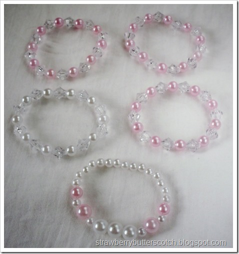 5 Crystal and Pearl Beaded Bracelets