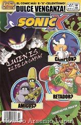 """Actualización 10/11/2018: Se agrega el numero 27 de Sonic X por Pablo_Av para The Tails Archive y La casita de Amy Rose. ¡El genio del mal Dr. Eggman continúa disfrutando su """"retiro"""" de la villanía mientras disfruta de su nueva carrera secreta como el poderoso luchador """"El Gran Gordo""""! Con Eggy preocupado en el ring, la puerta se deja abierta para que surja un nuevo mal, y su compañero Bokkun, que una vez le fue fiel, aprovecha la oportunidad para ser un genio malvado, incluso diabólico. Él se ha embarcado en una búsqueda febril de azúcar que lo hace imparable... impermeable a todos, ¡incluido Sonic! A veces, solo un genio malvado puede detener a un genio malvado, pero ¿quién podrá sacar a Ivo de su glamorosa vida de luchador en pantalones elásticos? La respuesta es solo una derrota... o al menos un empate o una caída técnica... No te pierdas esta escandalosa conclusión de la que todos hablaremos! ¡Dulce venganza! ¿Quién es el retador? ¿Campeón? ¿Desafiador?"""