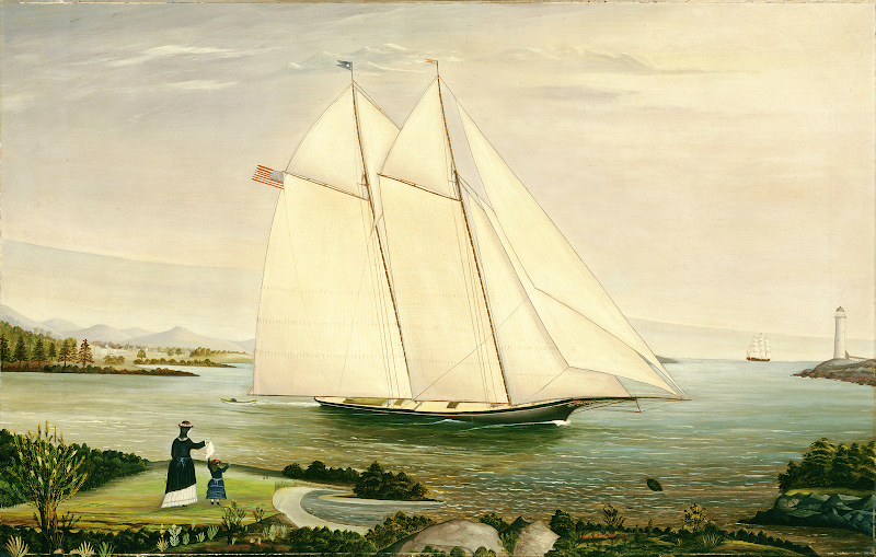 Schooner, American,19th Century. Oil on canvas. Artist Unknown