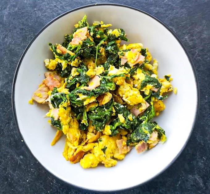 Spinach & Ham Scrambled Eggs Recipe | Breakfast Care