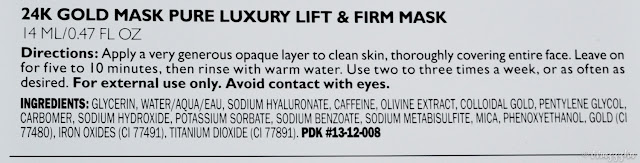 Peter Thomas Roth 24K Gold Mask Pure Luxury Lift & Firm Review Ingredients