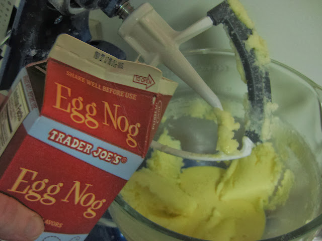 Pouring in the egg nog