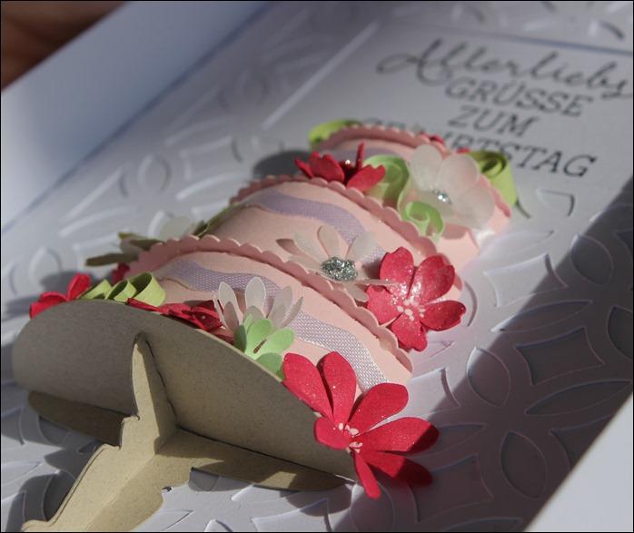 3D Cake Torte Hochzeit Geburtstag Wedding Birthday Quilling Flowers Card Karte 3