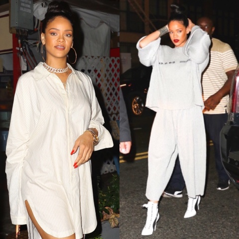 Rihanna parties wearing Jan Jan Van Essche and Faustine Steinmetz in New York