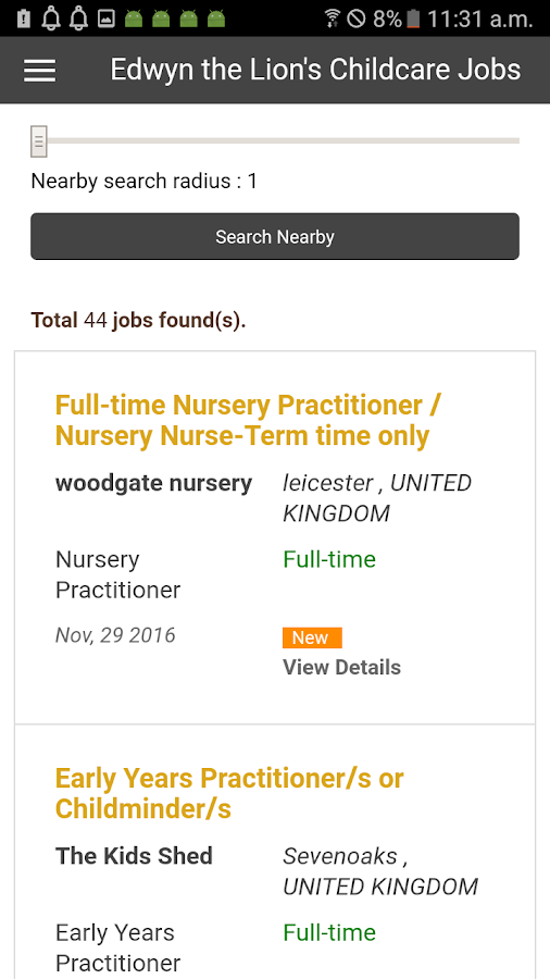 Childcare Jobs Listings- screenshot