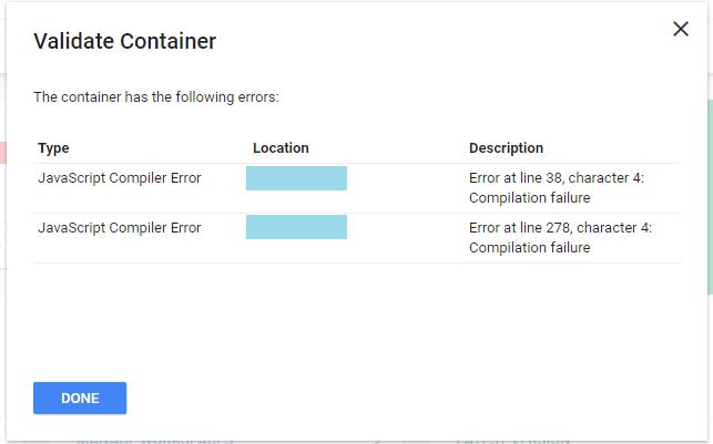 Javascript Compiler Error - Tag Manager Help