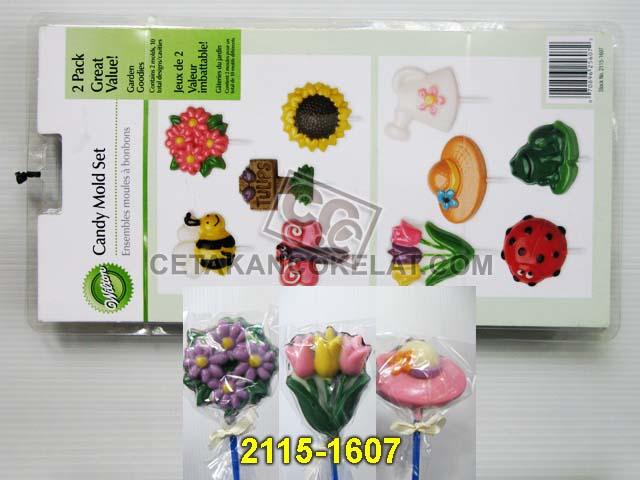 cetakan coklat cokelat wilton 2115-1607 Bunga Lebah Kupu-kupu kodok topi kepik Garden Goodies