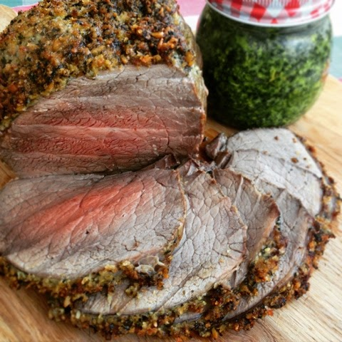 Foodie Quine - Spring Roast of Scotch Beef with a Wild Garlic Pesto Crust