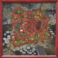 'Rose im Zengarten', Öl auf Leinwand, 60x60, 1998,