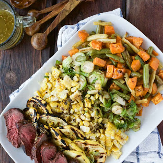 Grilled Veggie & Steak Salad with Herbed Butter Sauce Recipe
