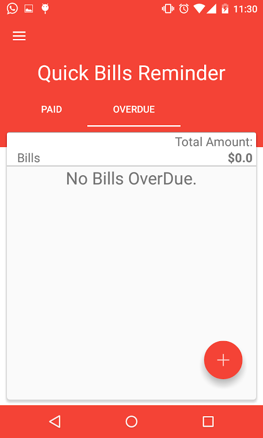 Quick Bills Reminder- screenshot