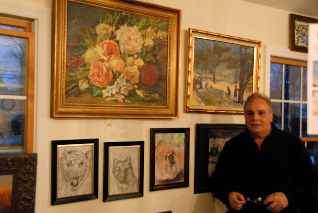 Tony Velardi with some of his work