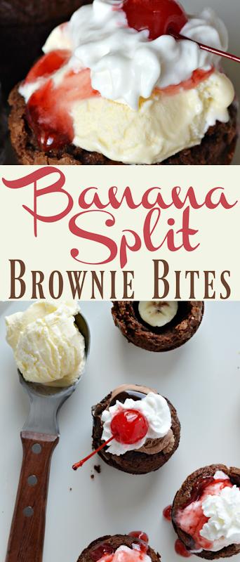 ice cream treat banana split brownie bites