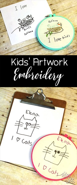Turn your kids drawings and artwork into embroidery.  This would be a great gift or look cute on a gallery wall!
