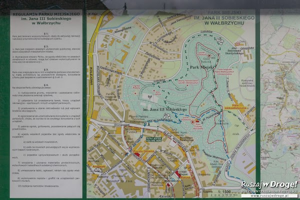 Mapa Parku Miejskiego w Wałbrzychu