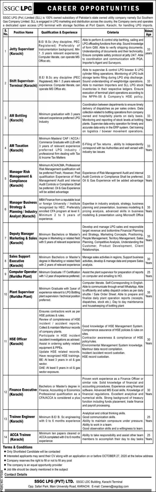 Jobs at Sui Southern Gas Company Limited SSGC October 2020