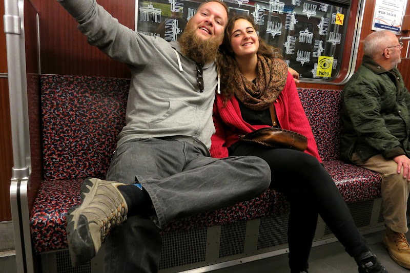 Tony and Leah on the U-Bahn