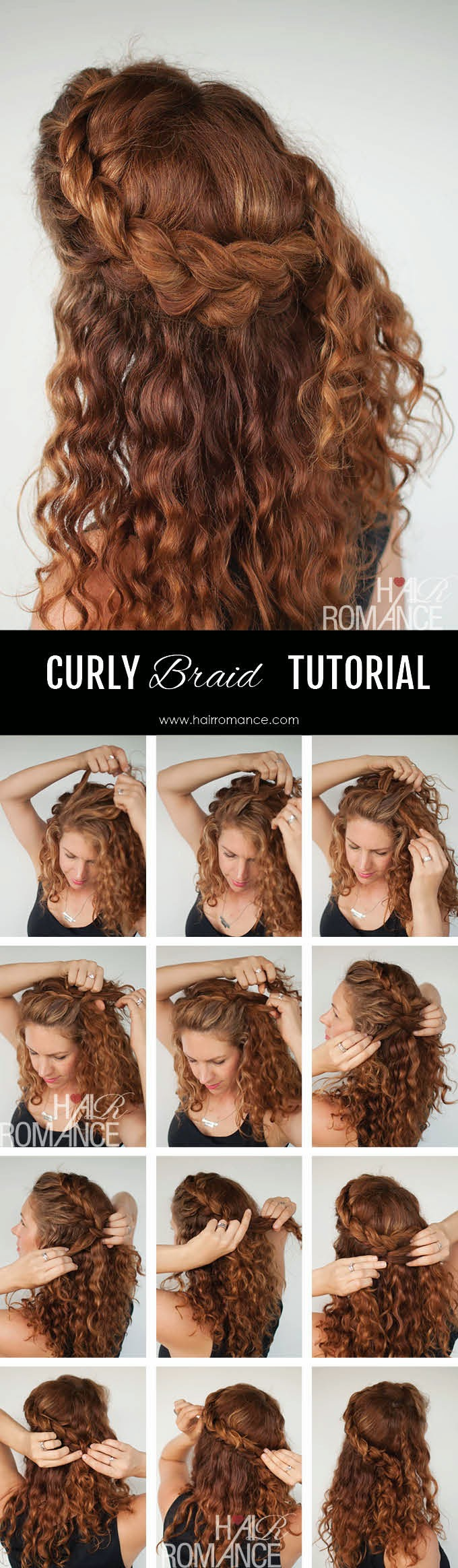 Tremendous The Half Up Braid Hairstyle Tutorial Curly Hair Tutorial Hairstyles For Women Draintrainus