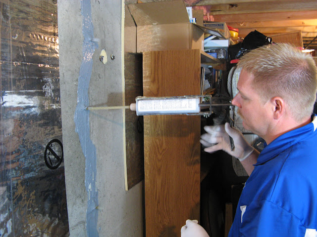 injection stops water leaks into a basement on contact with water