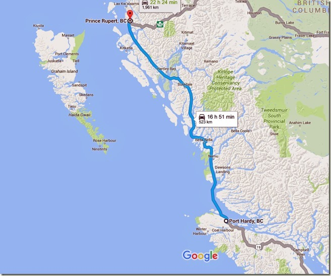 Port Hardy, BC to Prince Rupert, BC - Google Maps