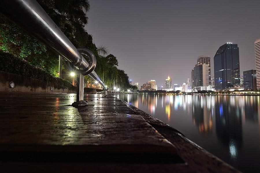 Benjakitti Park,  Bangkok by Dalibor Bakac - City,  Street & Park  Night ( bangkok, thailand, benjakitti park, night,  )