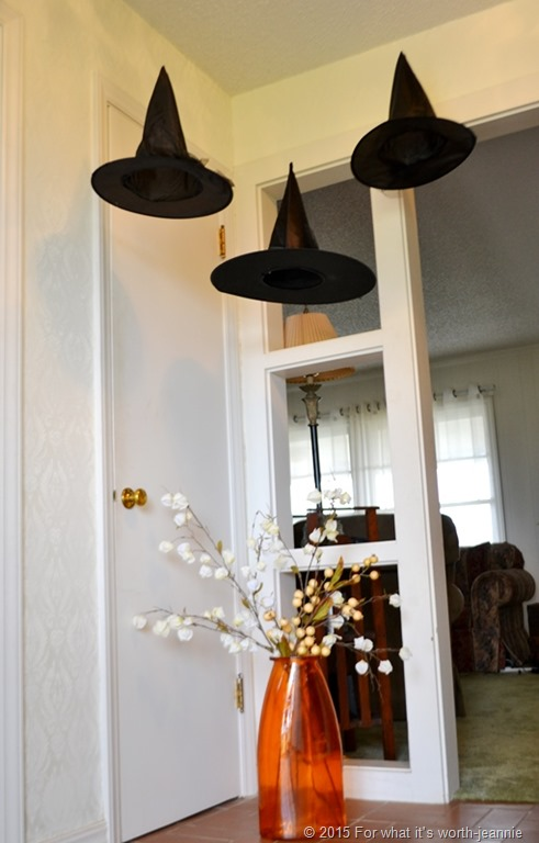 Halloween foyer with floating witch hats