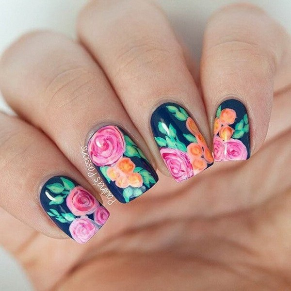 Top 50 pretty flower nail designs for beautiful lady fashonails top 50 pretty flower nail designs for beautiful lady mightylinksfo