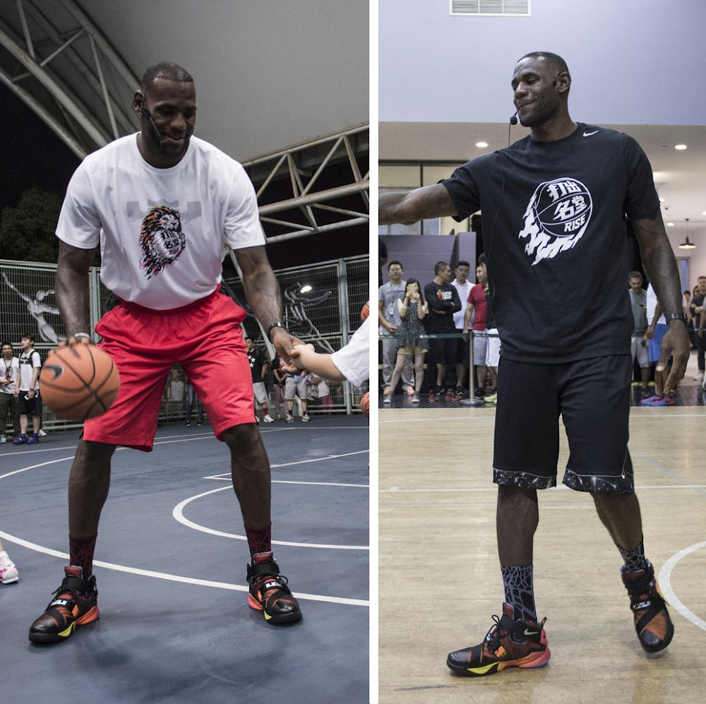 King James Wears Rise LeBron Soldier 9 in Shanghai ... 1e3f603ef