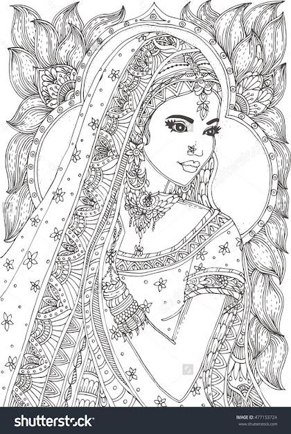 Beautiful Indian Woman Zendala Coloring Page  Shutterstock