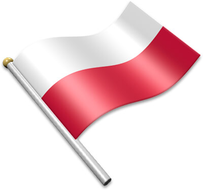 The Polish flag on a flagpole clipart image