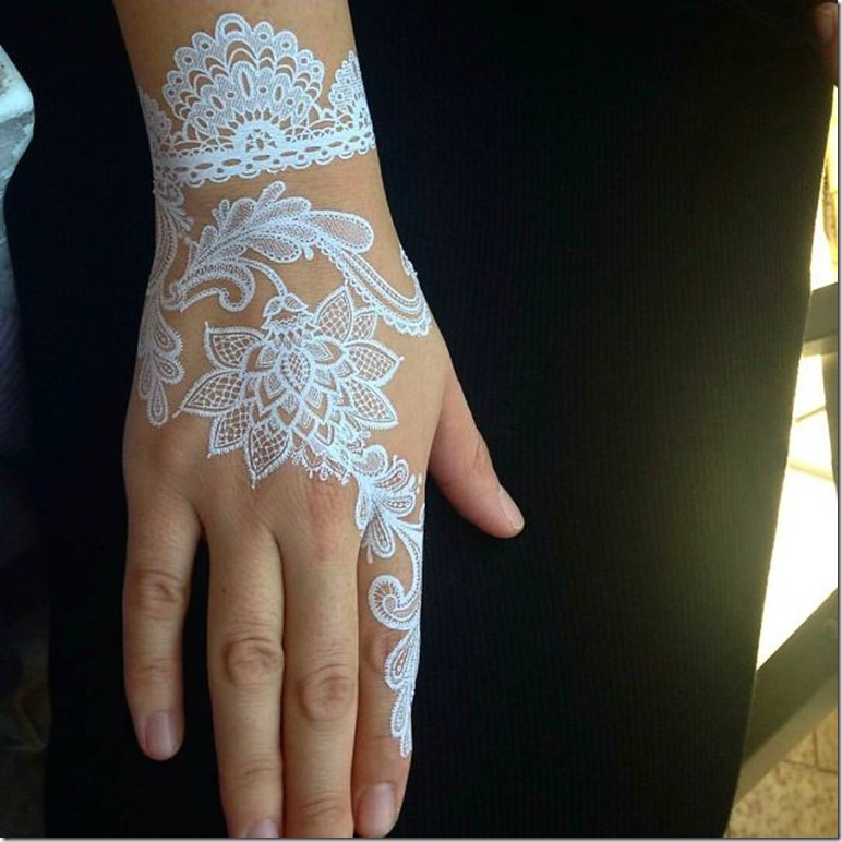 beautiful white henna art