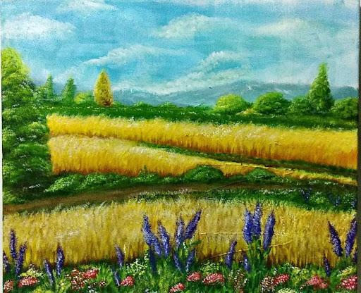 lukisan panen acrylic karya ewafebri