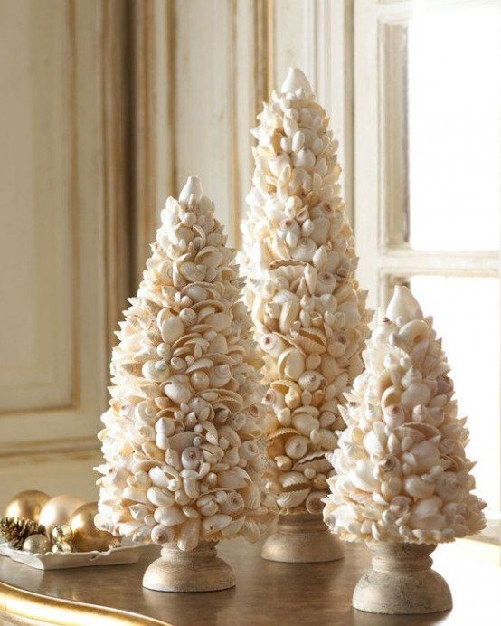 you choose for a coastal christmas take some branches and decorate them with shells and star fish make a tree of driftwood or glue shells into a tree