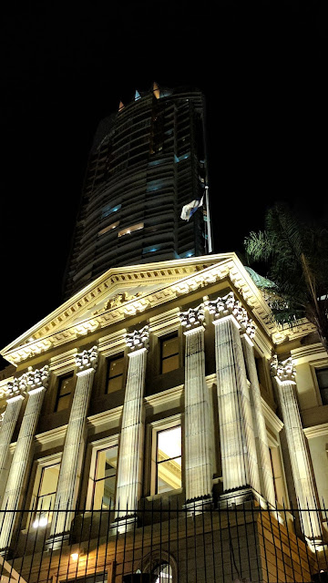 Brisbane's original Customs House at night