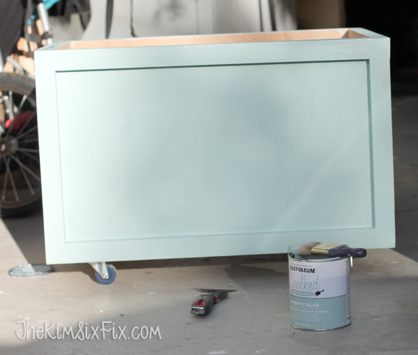 Painting toybox with chalk paint