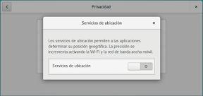 Como configurar GNOME con detalle. Configuración personal. Privacidad. Servicios de ubicación.